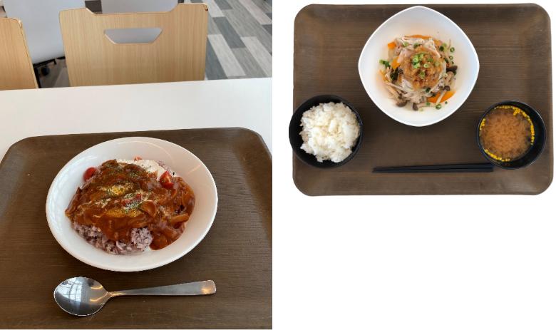 特別メニュー「鶏むね肉とトマトのハヤシライス」と定食「豚しゃぶおろしポン酢」