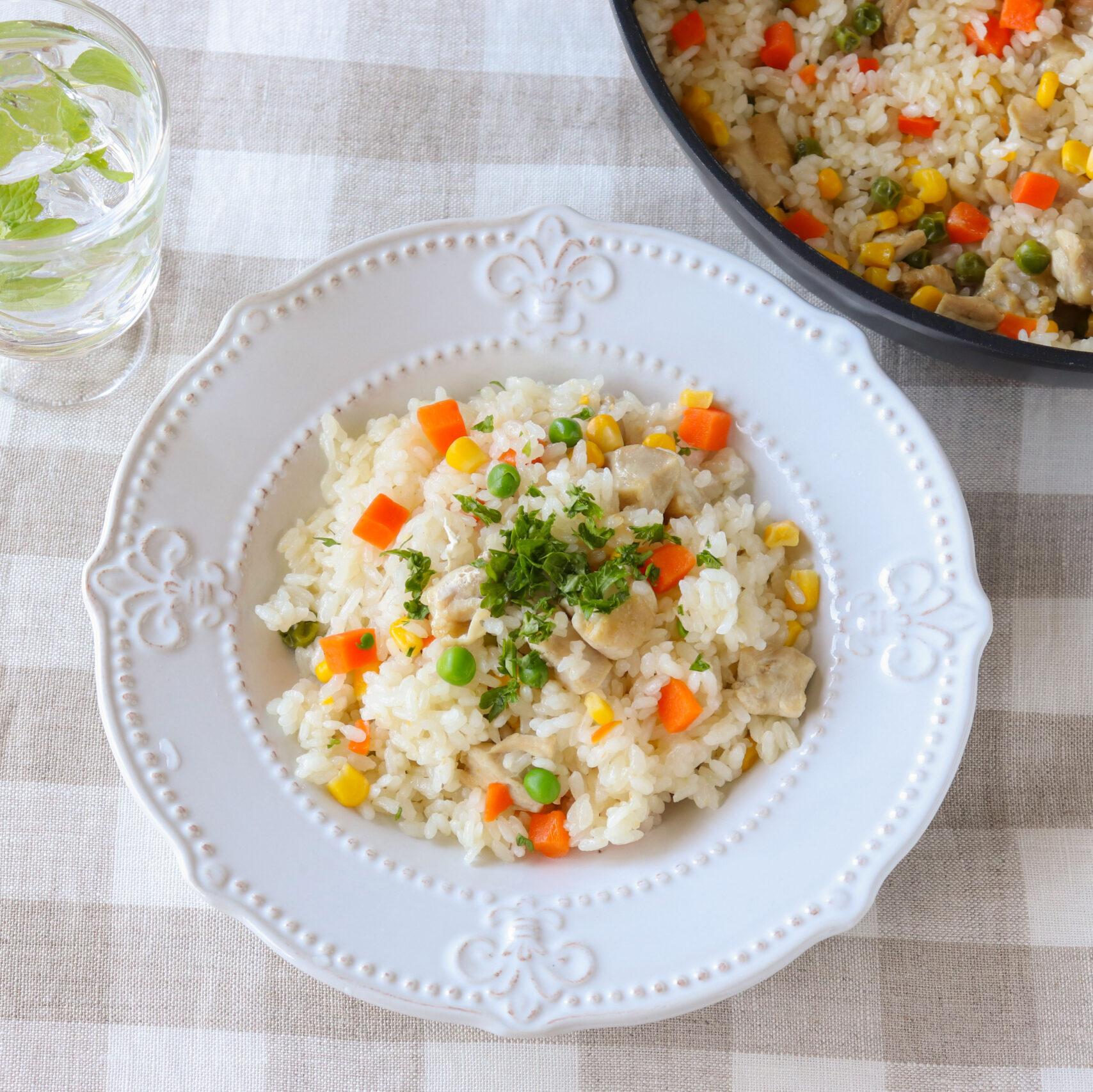 フライパンで簡単♪金芽米で作るチキンピラフ