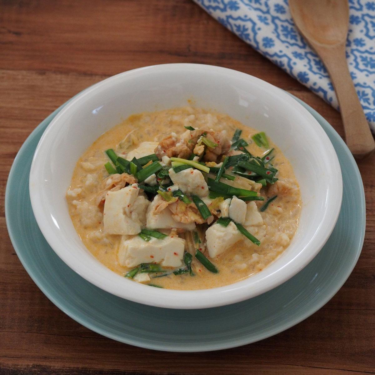「簡単ヘルシー!豆乳キムチの玄米スープ」画像