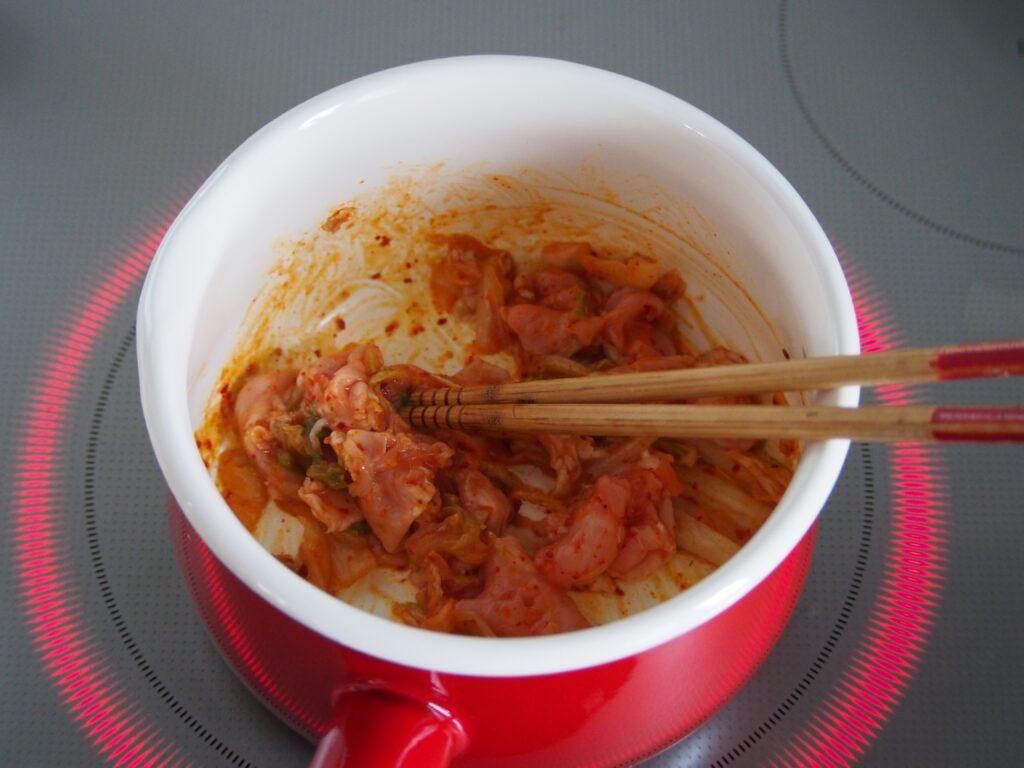 「簡単ヘルシー!豆乳キムチの玄米スープ」作り方1