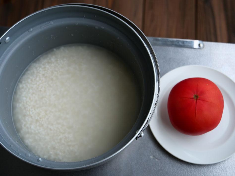 「豪快!丸ごとトマトの炊き込みピラフ」作り方1画像