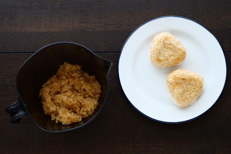 「おうちキャンプにも♪玄米のガリバタ醤油焼きおにぎり」作り方1画像